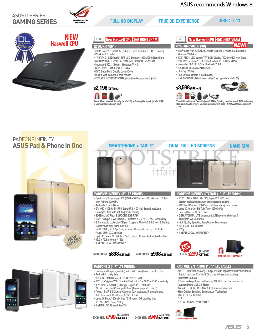 COMEX 2013 price list image brochure of ASUS Notebooks G Series G750JX-T4064H, G750JH-CV020H, SMARTPHONE PADFONE INFINITY, STATION, PADFONE 2, STATION