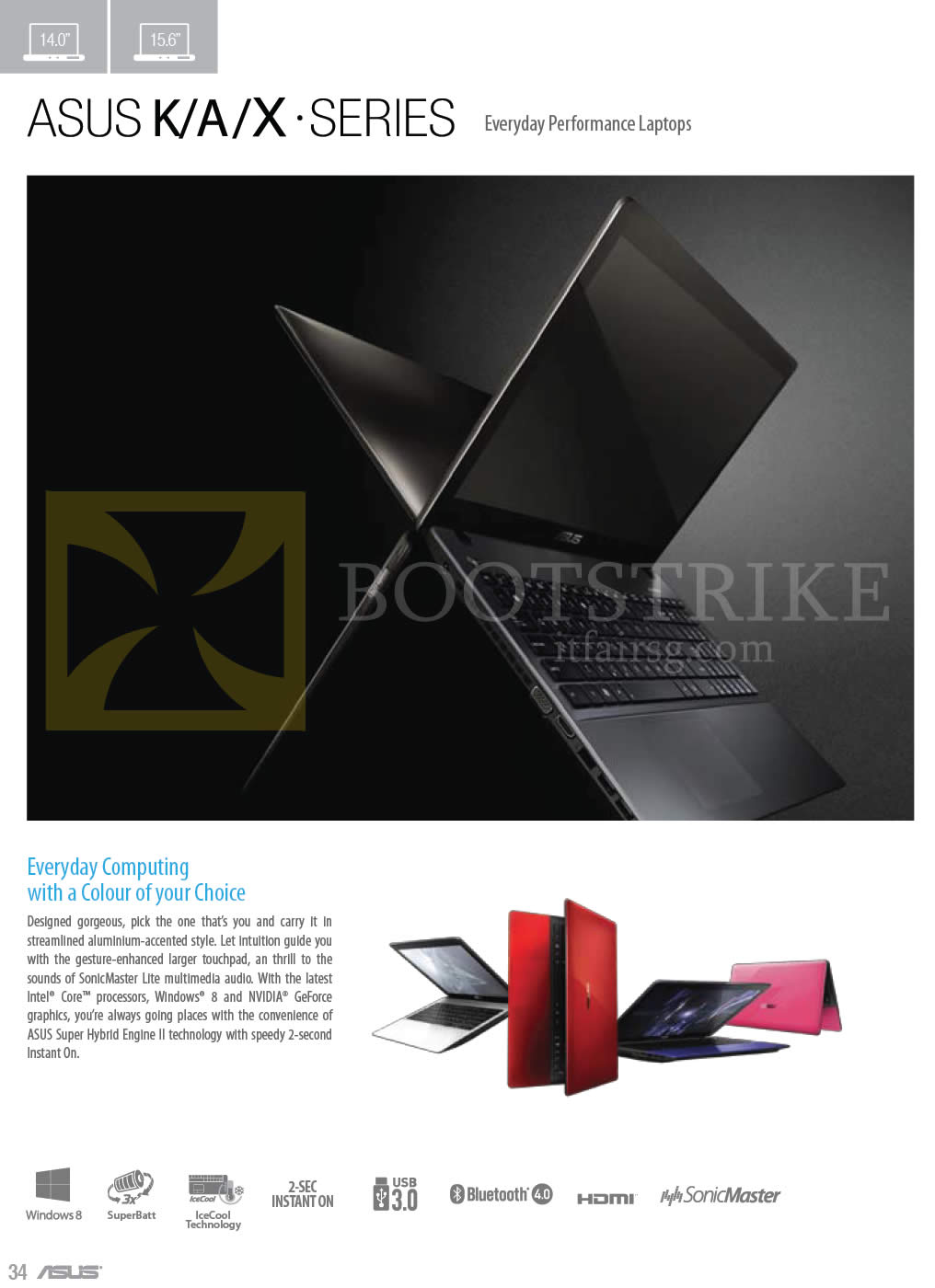 COMEX 2013 price list image brochure of ASUS Notebooks K, A, X Series