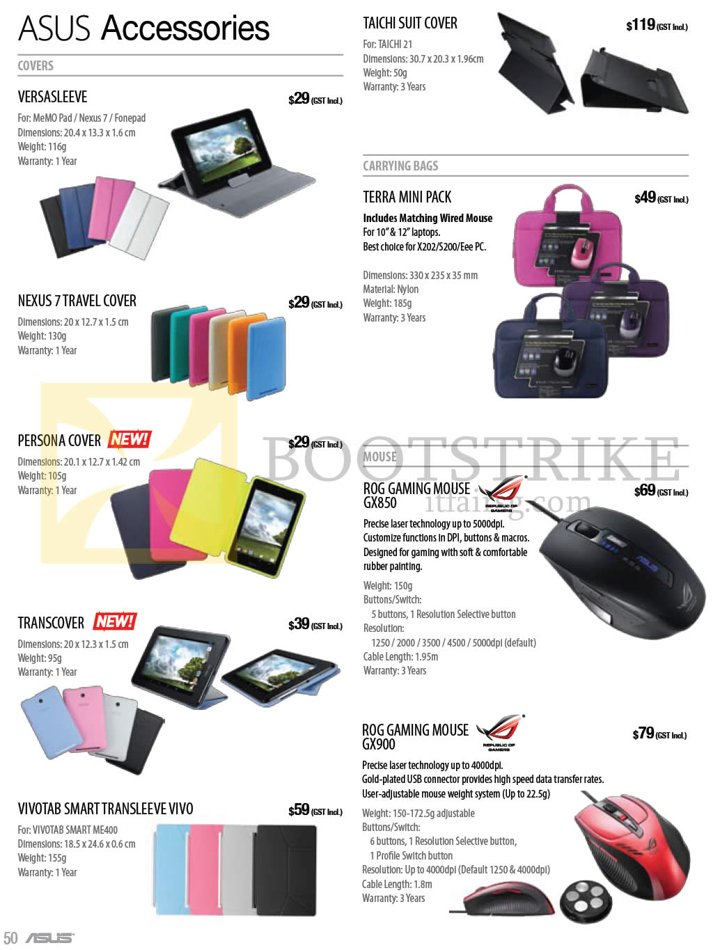COMEX 2013 price list image brochure of ASUS Notebooks Tablets Accessories Sleeves, Covers, ROG Mouse GX850, GX900