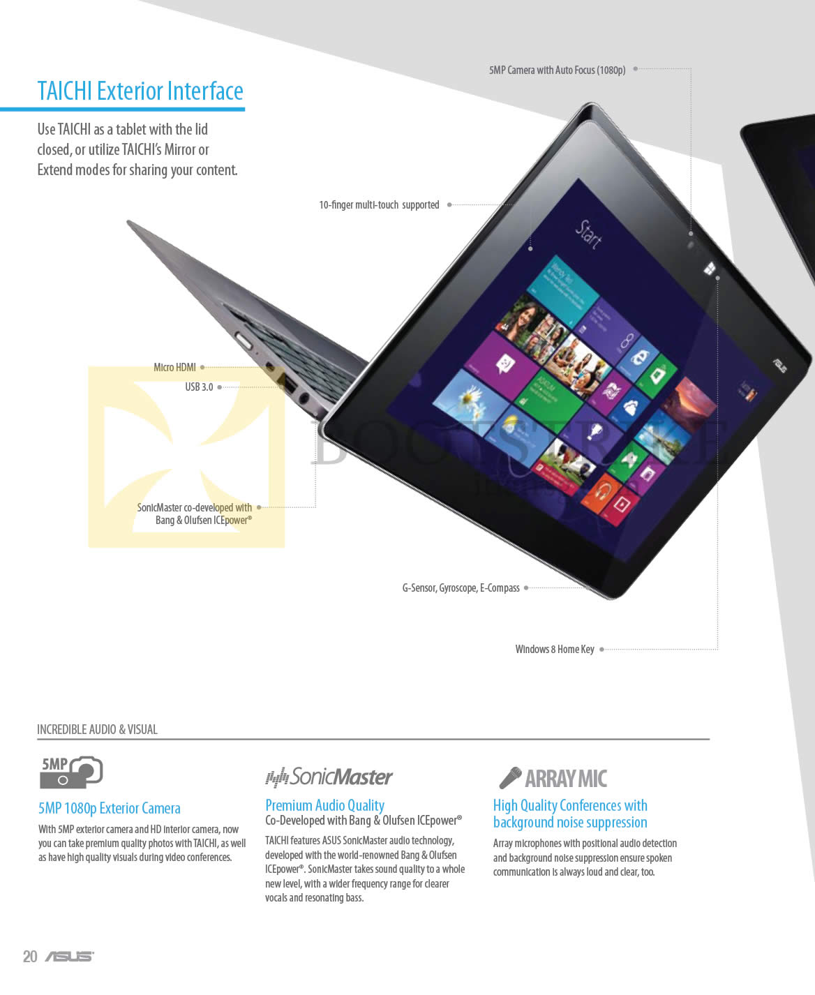COMEX 2013 price list image brochure of ASUS Notebooks Taichi Exterior Interface, Camera, Audio, Array Mic