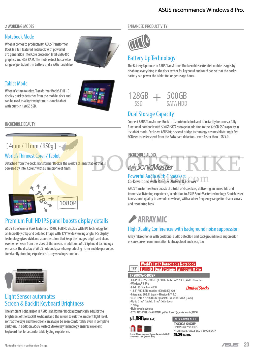 COMEX 2013 price list image brochure of ASUS Notebooks Transformer Book Features Working Modes, Beauty, Audio, Productivity, TX300CA-C4033P, TX300CA-C4025P
