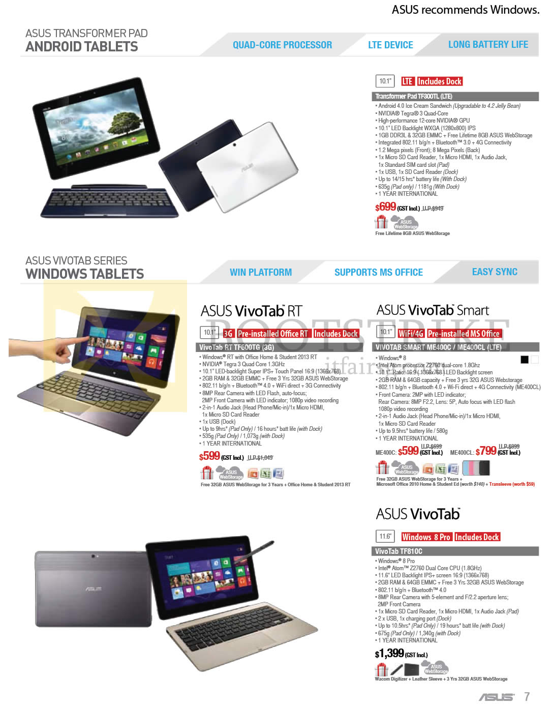 COMEX 2013 price list image brochure of ASUS Notebooks Transformer Pad TF300TL, VivoTab RT TF600TG, VIVOTAB SMART ME400C, ME400CL, TF810C