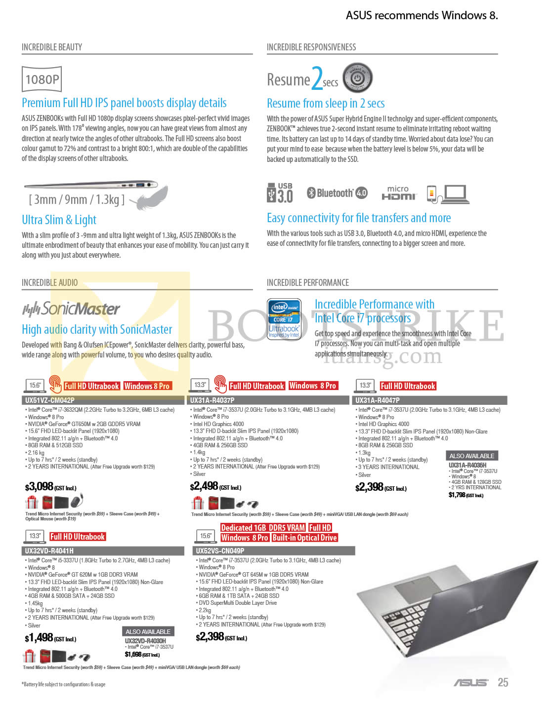 COMEX 2013 price list image brochure of ASUS Notebooks Zenbook UX51VZ-CM042P, UX31A-R4037P, UX31A-R4047P, UX32VD-R4041H, UX52VS-CN049P