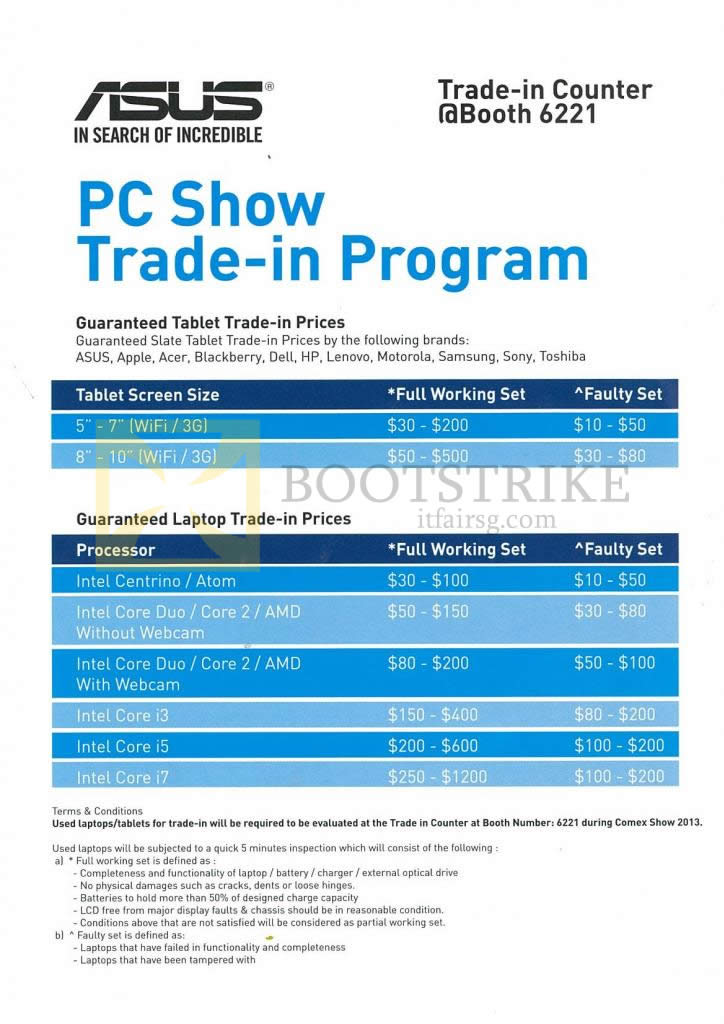 COMEX 2013 price list image brochure of ASUS PC Dreams Notebooks Tablets Trade-In Prices