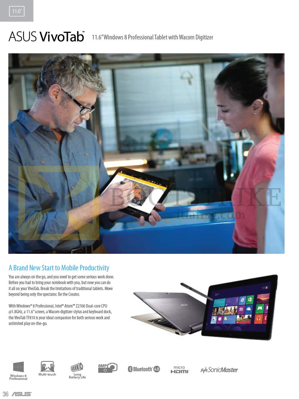 COMEX 2013 price list image brochure of ASUS Tablets VivoTab