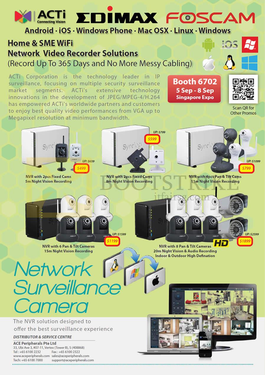 COMEX 2013 price list image brochure of Ace Peripherals ACTi Edimax Foscam Network Video Recorder, Network Surveillance Cameras