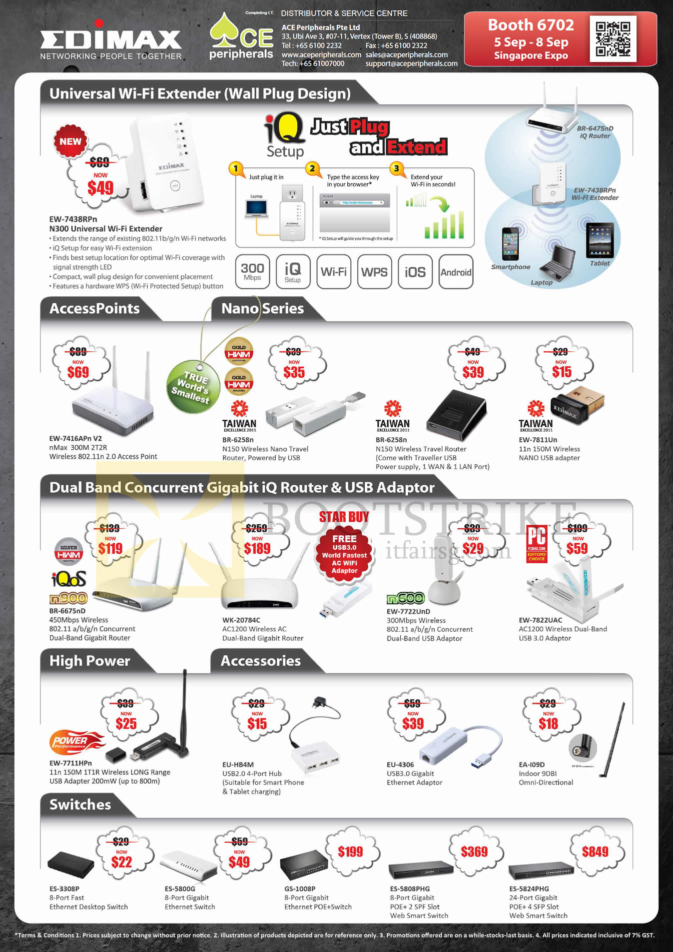 COMEX 2013 price list image brochure of Ace Peripherals Edimax Networking Wireless Extender, Access Points, Router, USB Ethernet Adapter, POE Switches