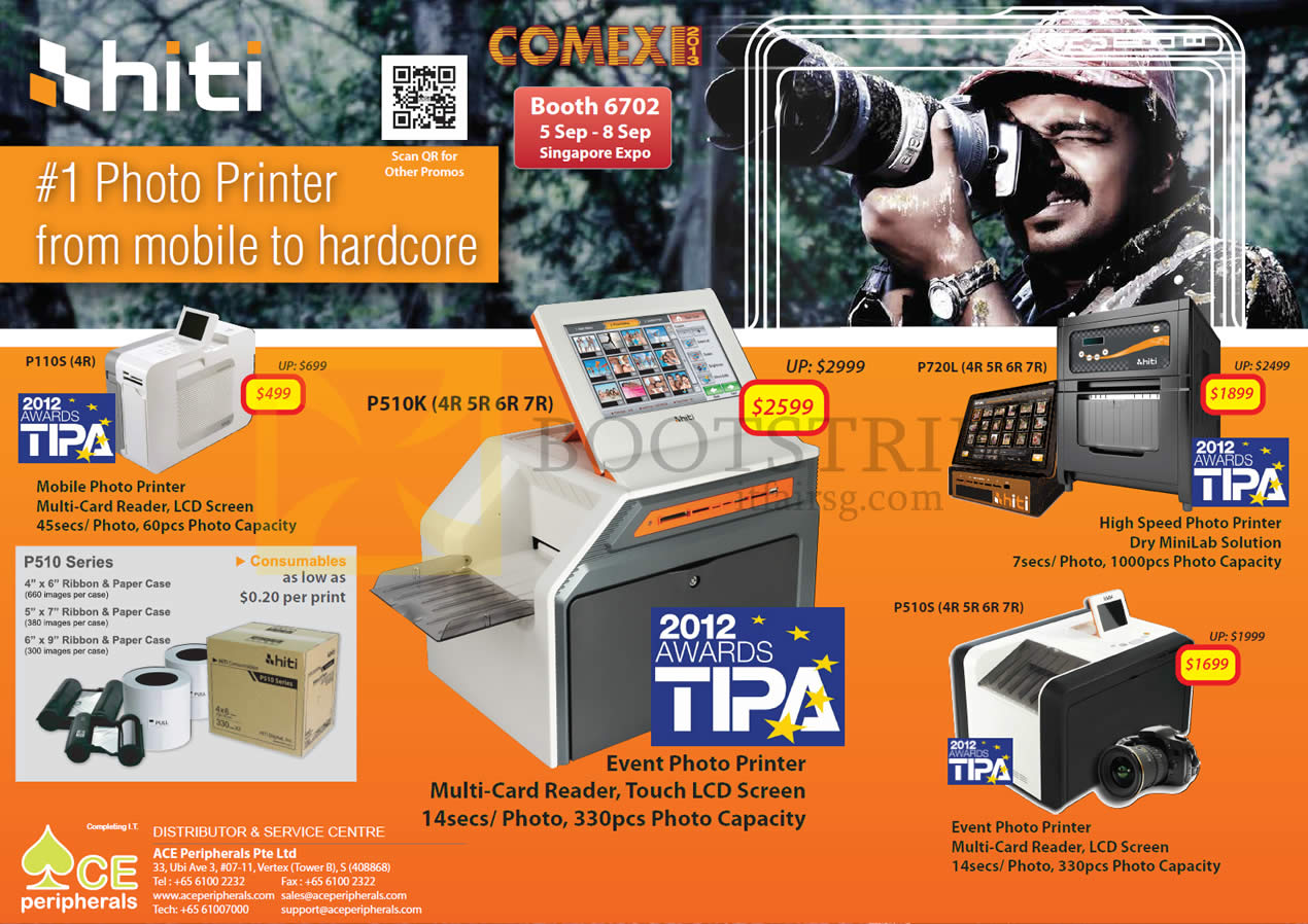 COMEX 2013 price list image brochure of Ace Peripherals HiTi Photo Printers P110S S420i P720L P510S P510K