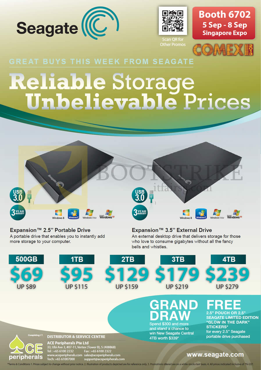 COMEX 2013 price list image brochure of Ace Peripherals Seagate External Storage Expansion Portable Drive 500GB 1TB 2TB 3TB 4TB