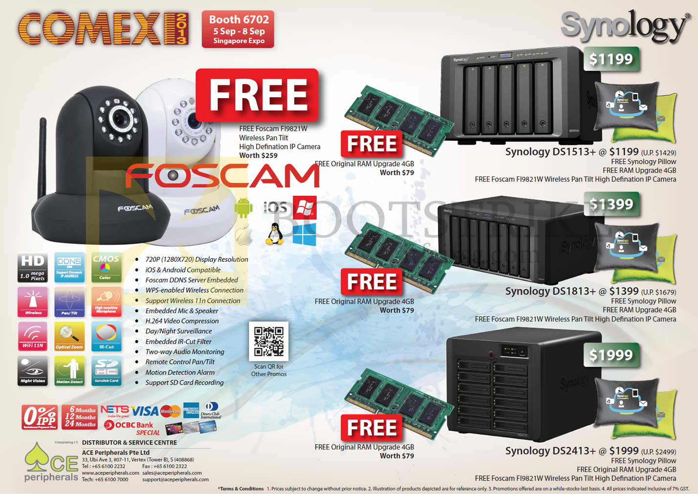 COMEX 2013 price list image brochure of Ace Peripherals Synology NAS DS1513. DS1813, DS2413
