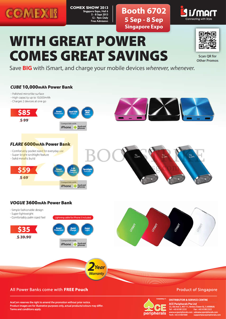 COMEX 2013 price list image brochure of Ace Peripherals ISmart External Charger, Cube, Flare, Vogue, Power Bank