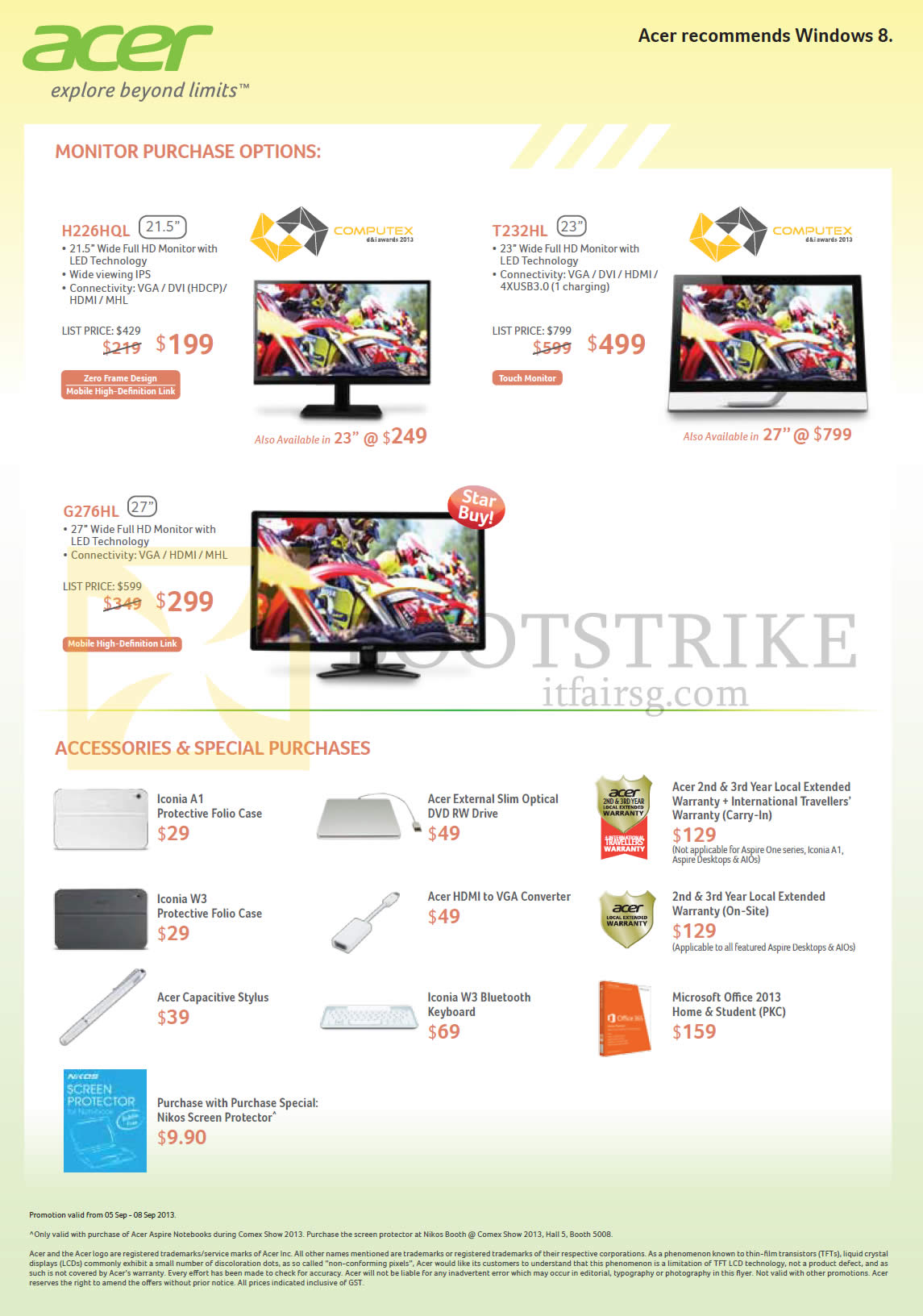 COMEX 2013 price list image brochure of Acer Monitors LED H226HQL, T232HL, G276HL, Accessories Case, Warranty, Microsoft Office 2013, External Optical Drive