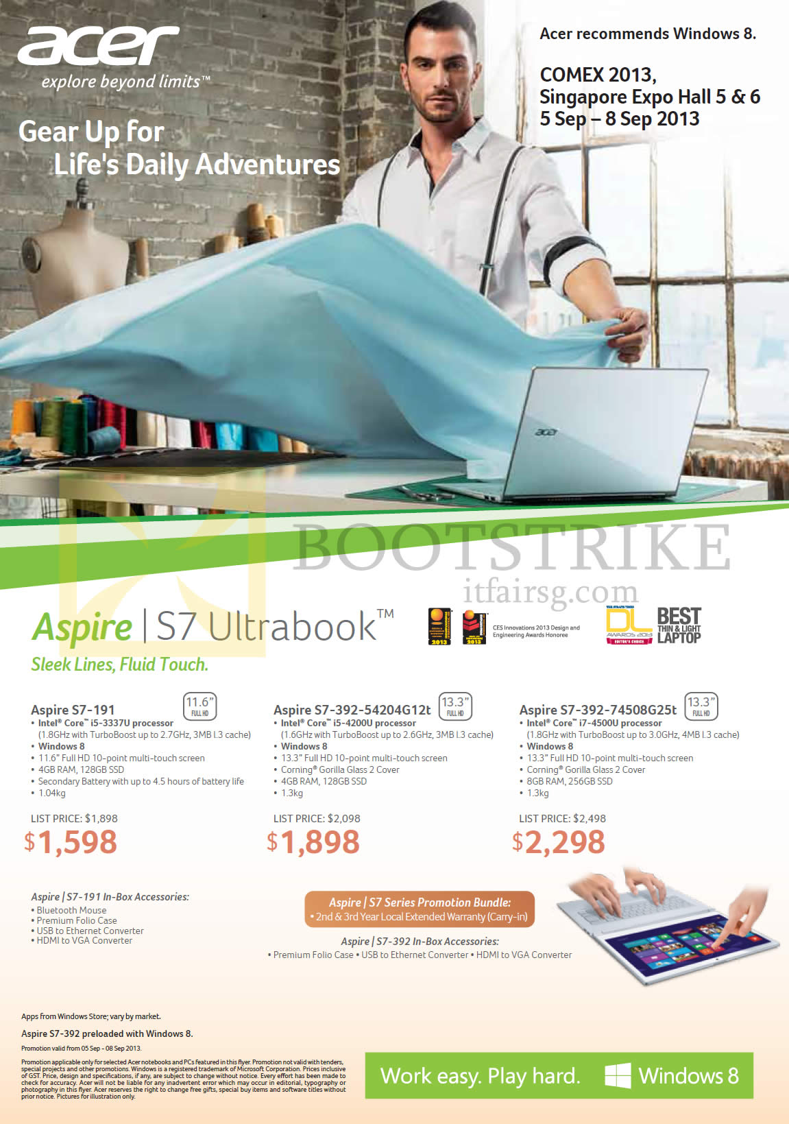 COMEX 2013 price list image brochure of Acer Notebooks Aspire S7-191, S7-392-54204G12t, S7-392-74508G25t