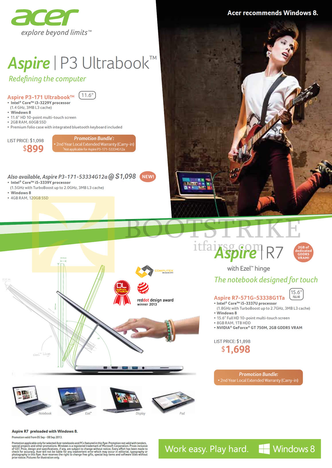 COMEX 2013 price list image brochure of Acer Notebooks P3-171, P3-171-53334G12a, R7-571G-53338G1Ta