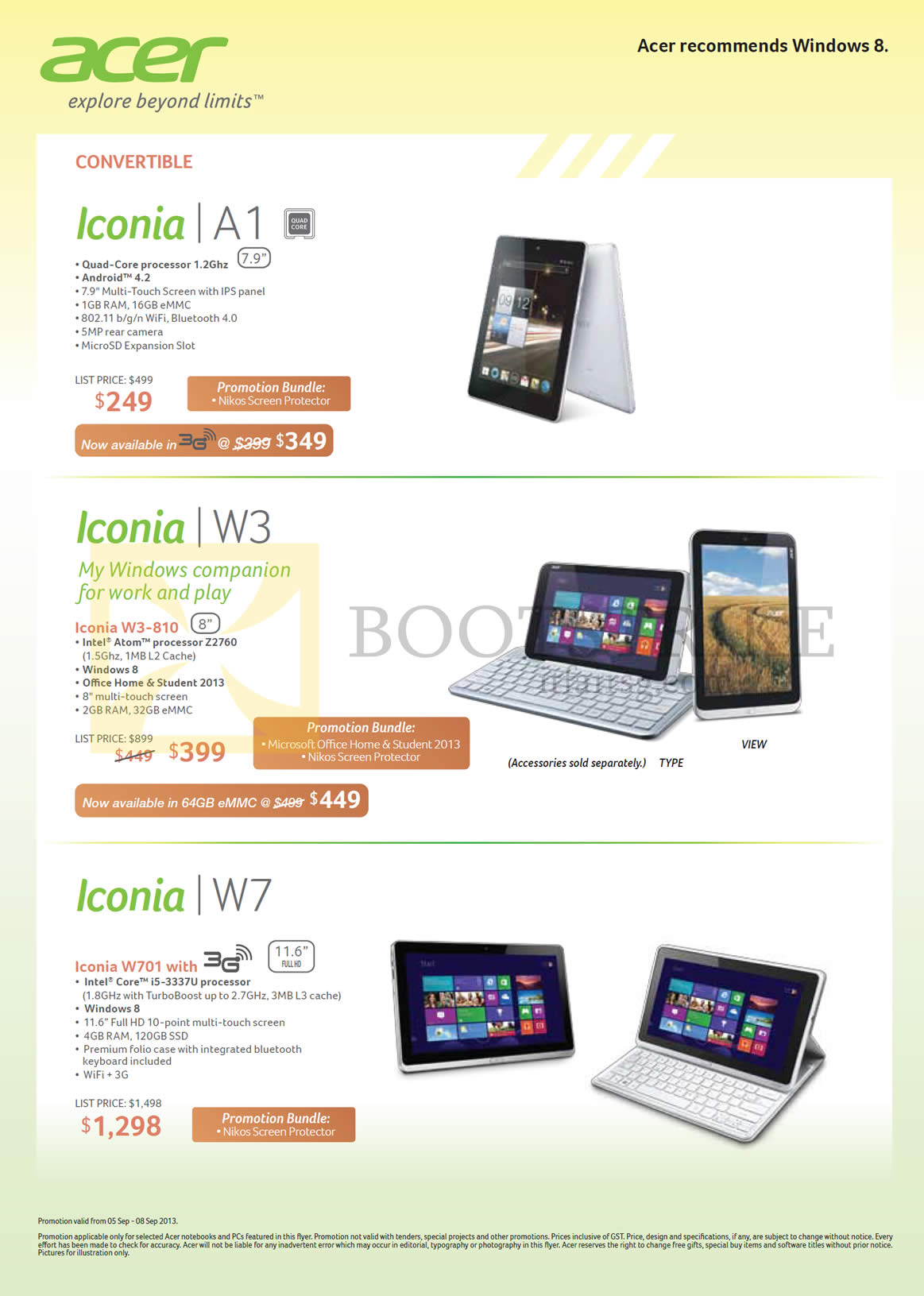 COMEX 2013 price list image brochure of Acer Tablets Iconia W3-810, A1, W701