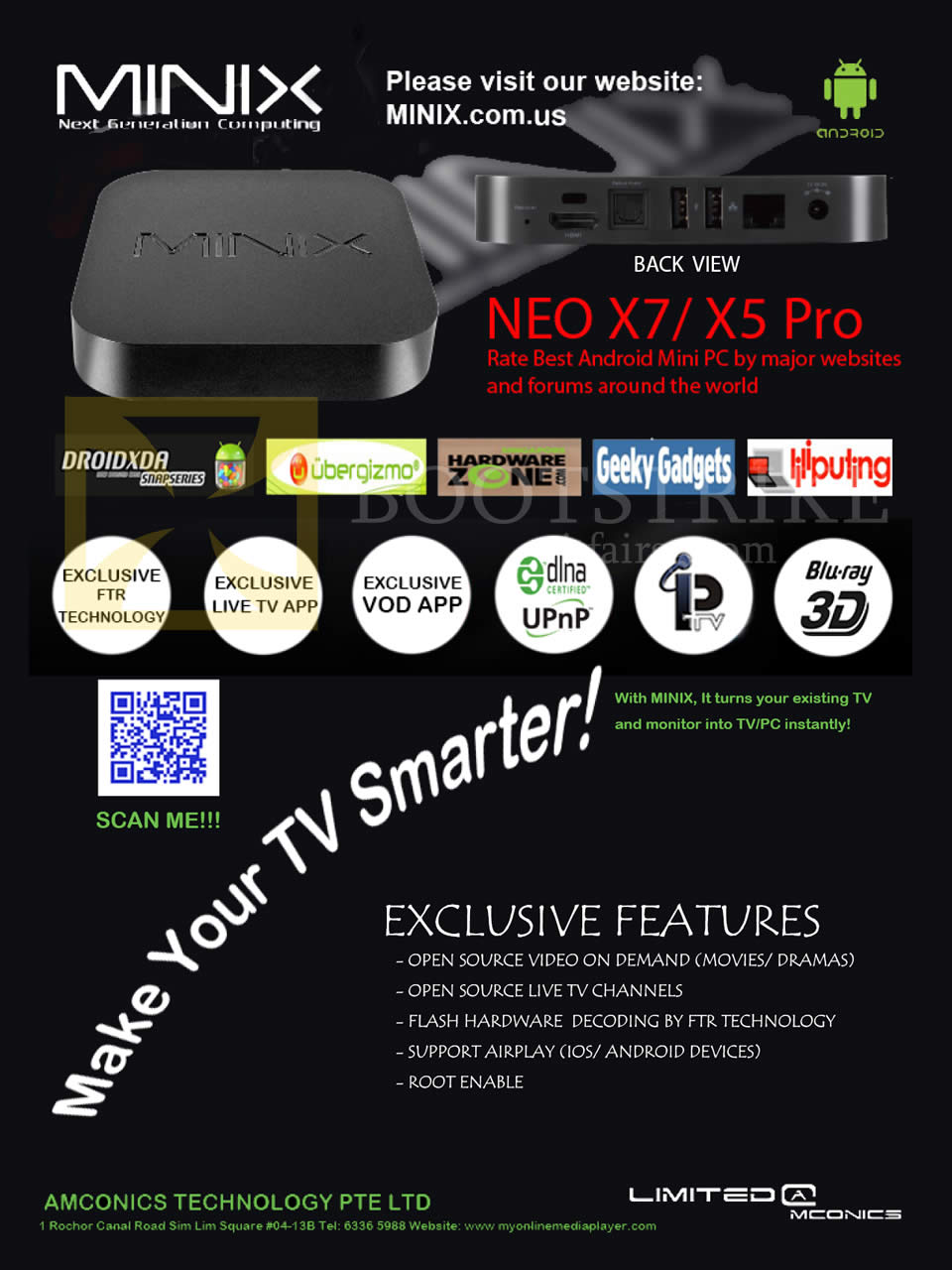 COMEX 2013 price list image brochure of Amconics Media Players Minix Neo X7, Neo X5 Pro, Features