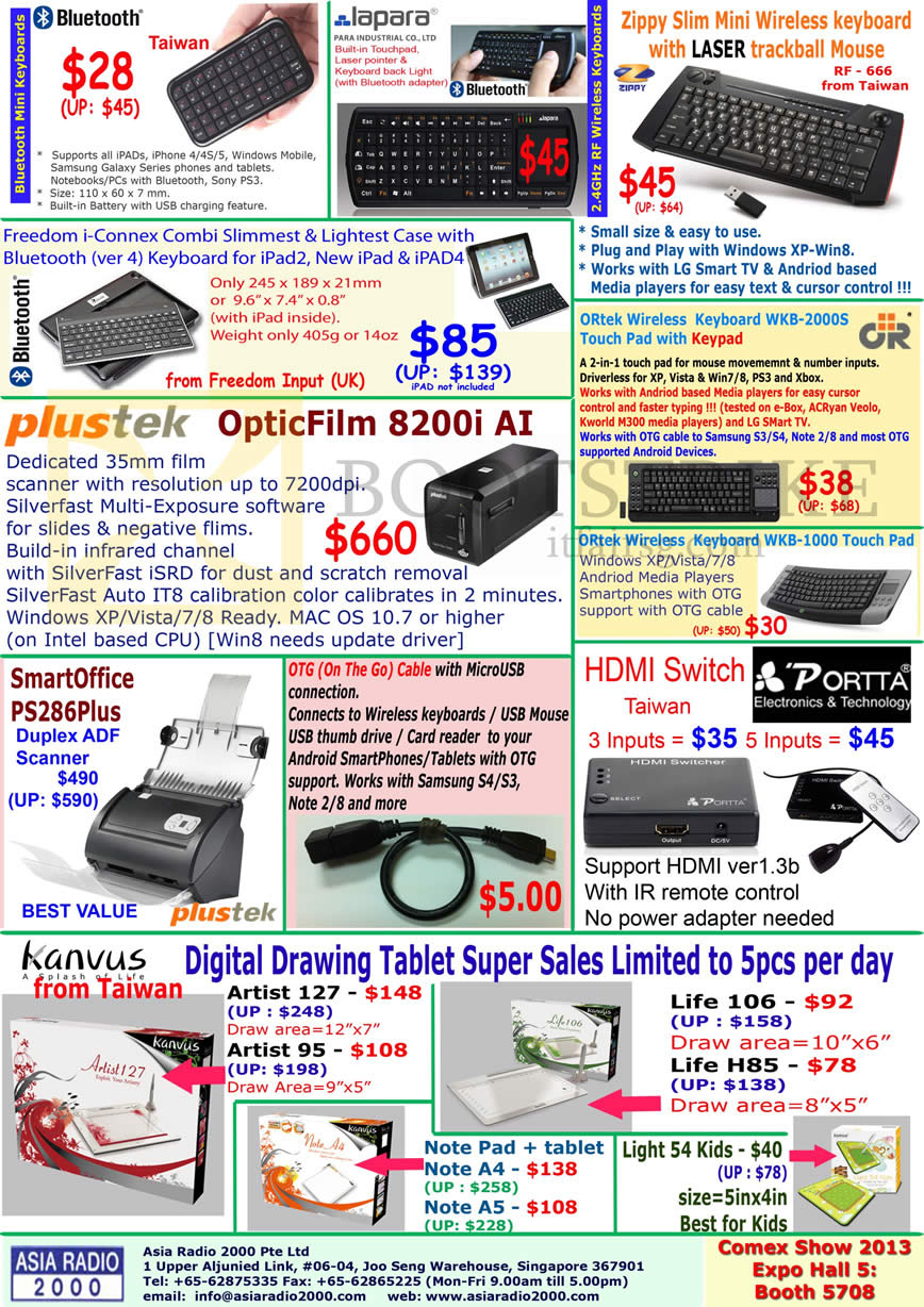 COMEX 2013 price list image brochure of Asia Radio Accessories Bluetooth Keyboard, Zippy, Scanner Plustek OpticFilm 8200i, SmartOffice PS286Plus, HDMI Switch, Kanvus Drawing Tablet