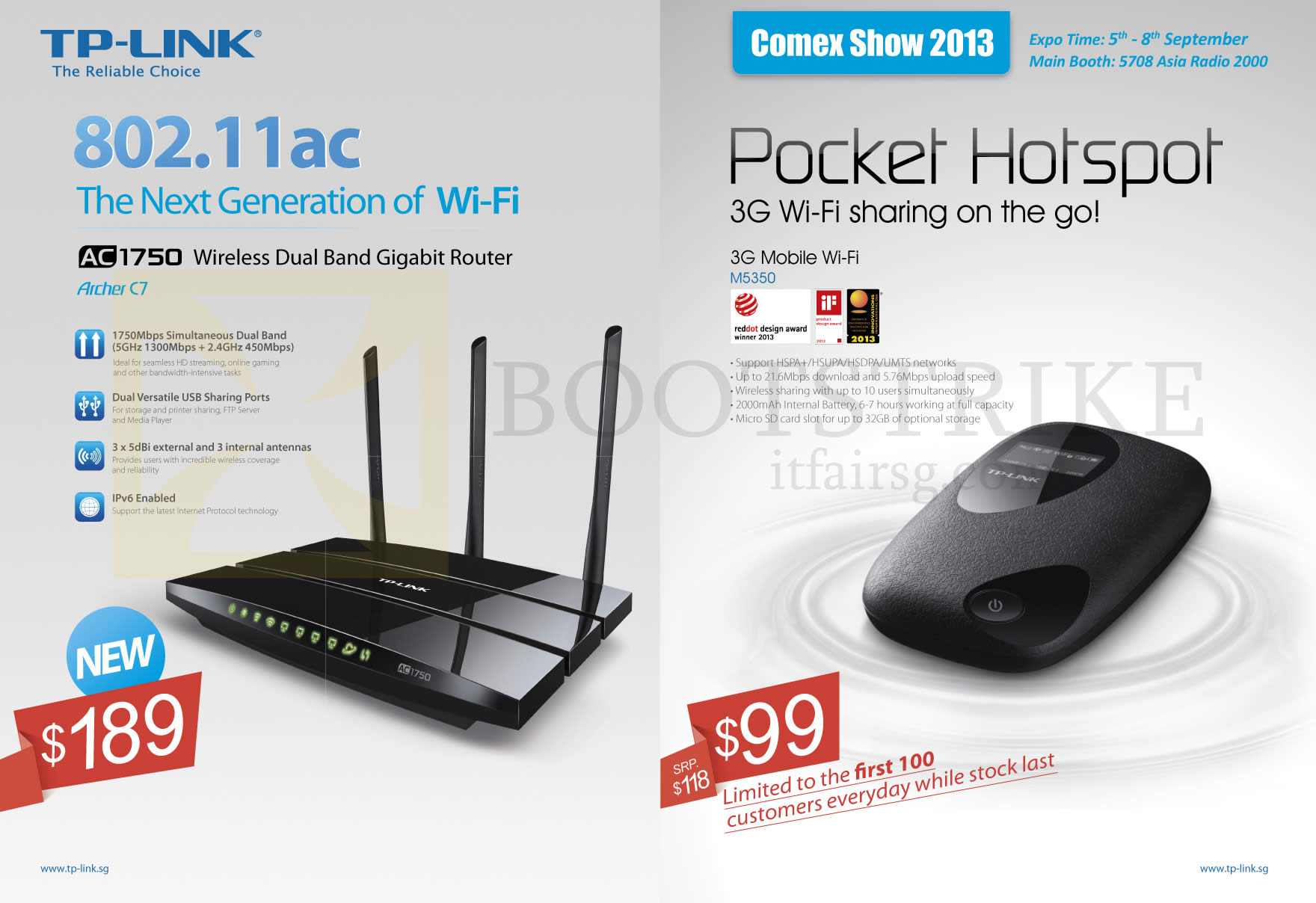 COMEX 2013 price list image brochure of Asia Radio TP-Link Networking AC1750 802.11ac Wireless Router, Pocket Hotspot M5350 3G Mobile Wifi Sharing
