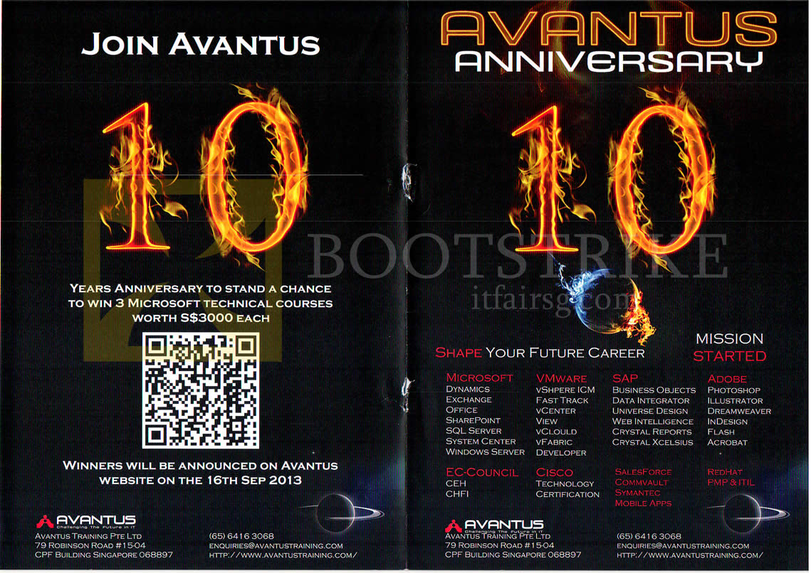 COMEX 2013 price list image brochure of Avantus 10th Anniversary