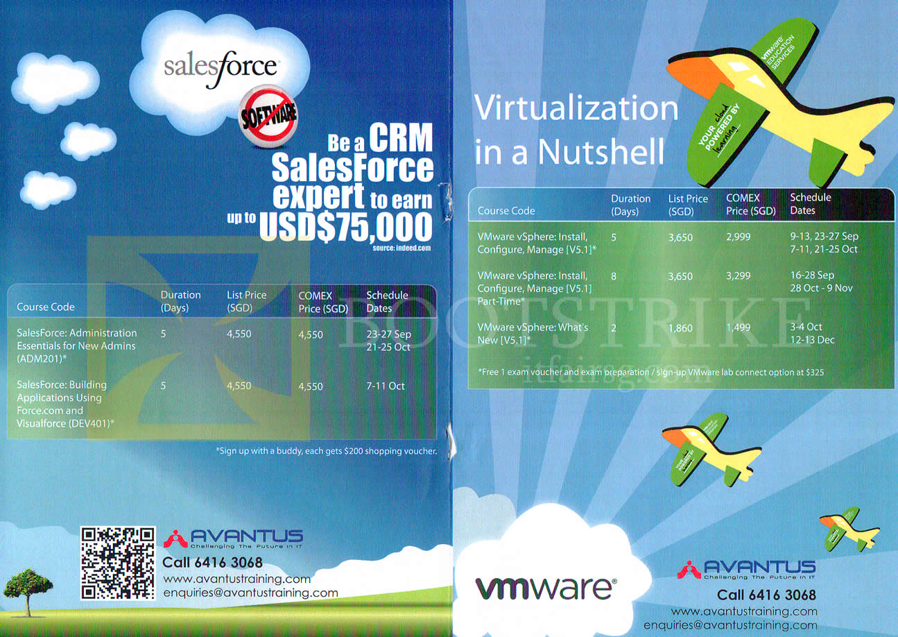 COMEX 2013 price list image brochure of Avantus Training SalesForce, Virtualization VMWare VSphere