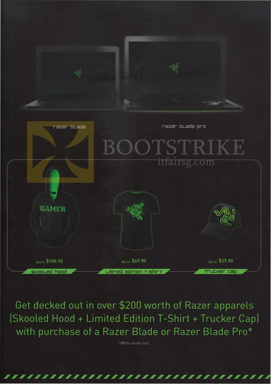 COMEX 2013 price list image brochure of Ban Leong Razer Notebooks Blade, Razer Blade Pro, Free 200 Dollar Worth With Purchase