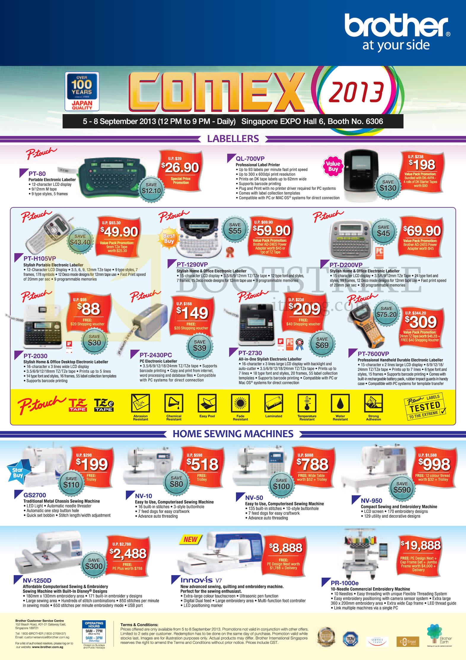 COMEX 2013 price list image brochure of Brother Labellers P-Touch QL-700VP PT-80 H105VP 1290VP D200VP 2030 2430PC 2730 7600VP, Sewing Machines GS2700 NV-10 NV-50 NV-950 NV-1250D INNOVIS V7 PR-1000E