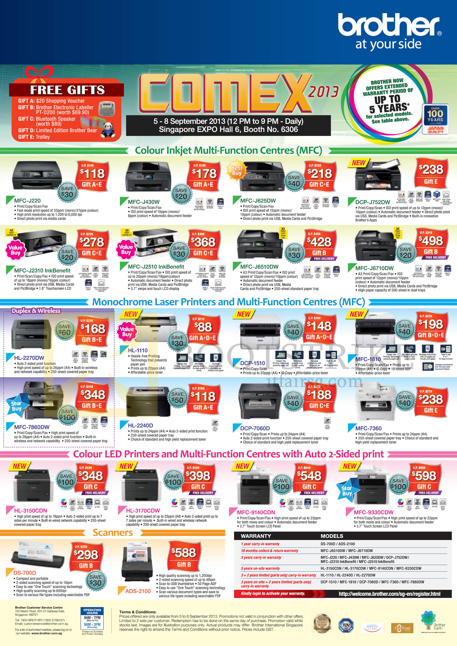 COMEX 2013 price list image brochure of Brother Printers Inkjet MFC J220 J430 J625DW J6510DW, Laser DCP 7060D HL 2240D 2270DW, LED HL 3150CDN 3170CDW, Scanners DS-700D ADS-2100