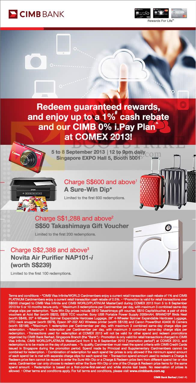 COMEX 2013 price list image brochure of CIMB Credit Cards Spend N Redeem, Cash Rebate, Pay Plan, Sure-Win Dip