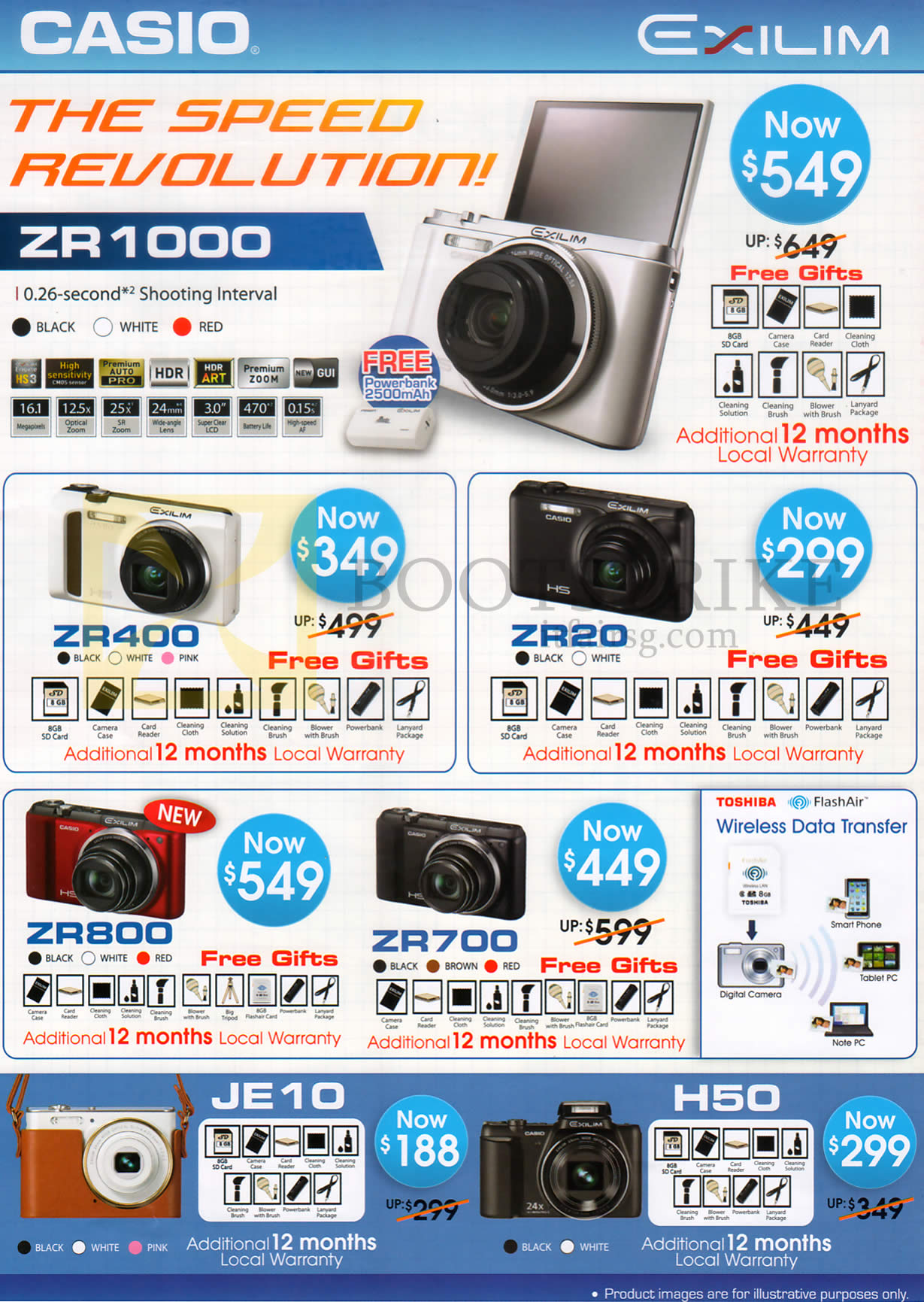 COMEX 2013 price list image brochure of Casio Digital Cameras Exilim ZR400, Z420, ZR1000, ZR800, ZR700, JE10, H50