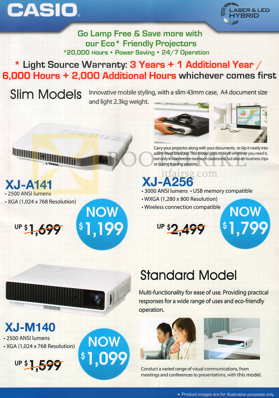 COMEX 2013 price list image brochure of Casio Projectors XJ-A141, XJ-A256, XJ-M140