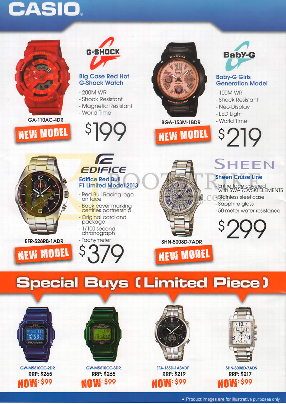 COMEX 2013 price list image brochure of Casio Watches G-Shock GA-110AC-4DR, Baby-G BGA-153M-1BDR, Edifice EFR-528RB-1ADR, Sheen SHN-5008D-7ADR
