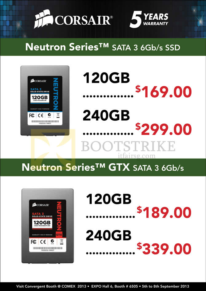 COMEX 2013 price list image brochure of Convergent Corsair SSD Neutron Series, GTX