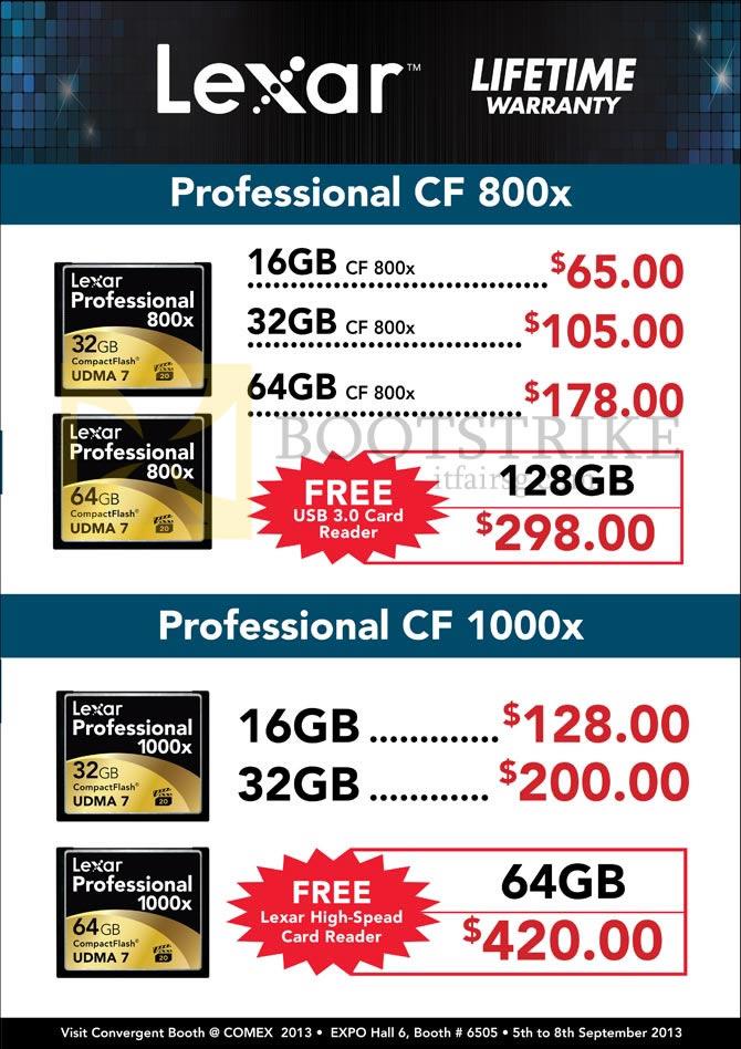 COMEX 2013 price list image brochure of Convergent Lexar Professional CompactFlash CF Flash Memory
