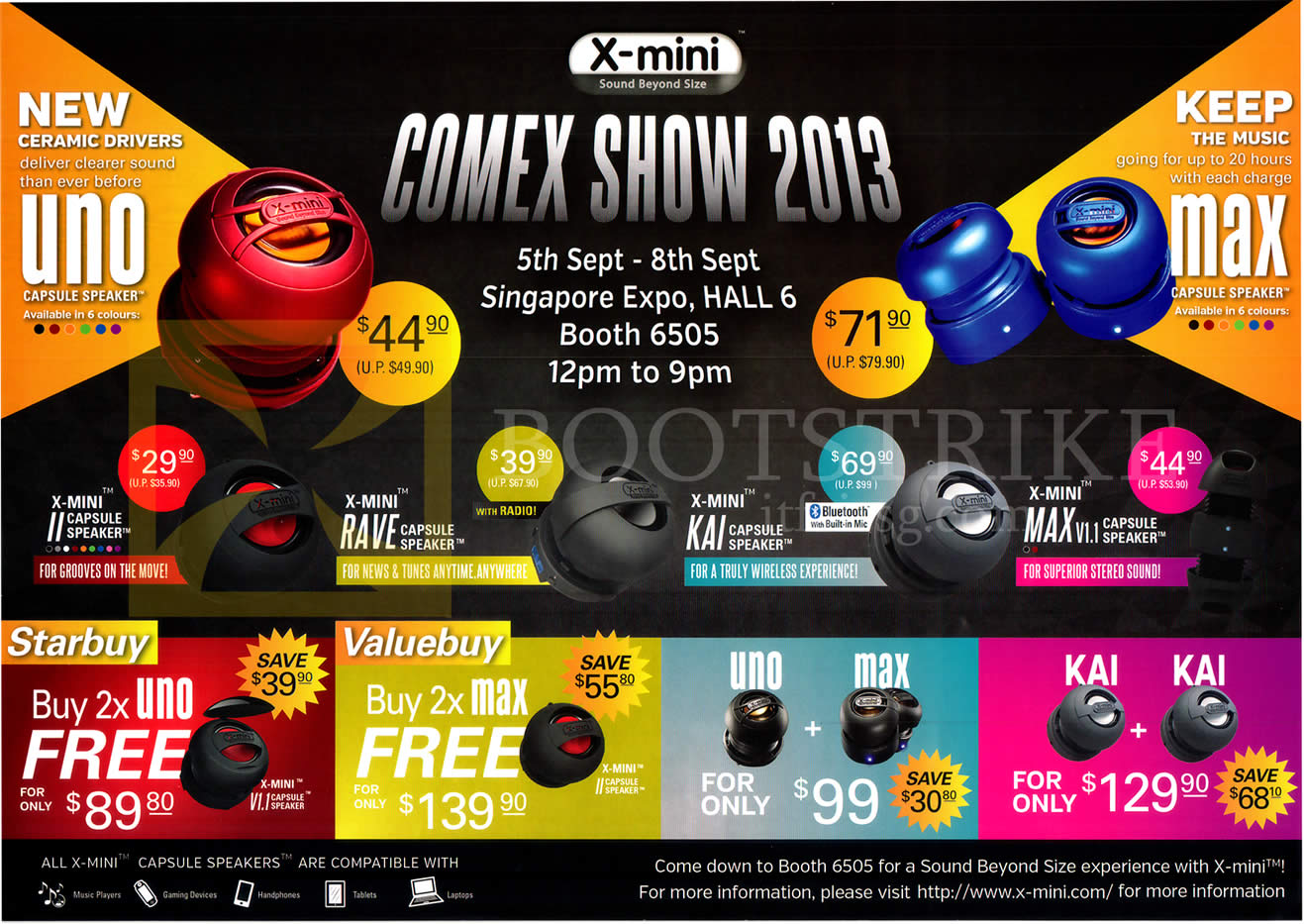 COMEX 2013 price list image brochure of Convergent X-Mini Speakers II Capsule, Rave, Kai, Max, Uno
