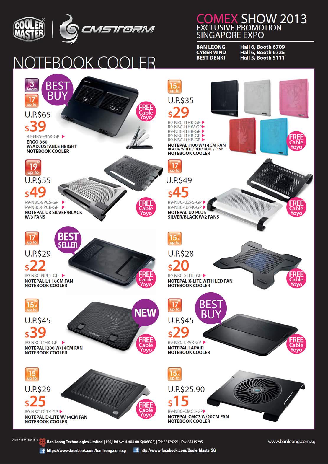 COMEX 2013 price list image brochure of Cooler Master CMStorm Ban Leong Cybermind Best Denki Notebook Coolers, Notepal, Ergo