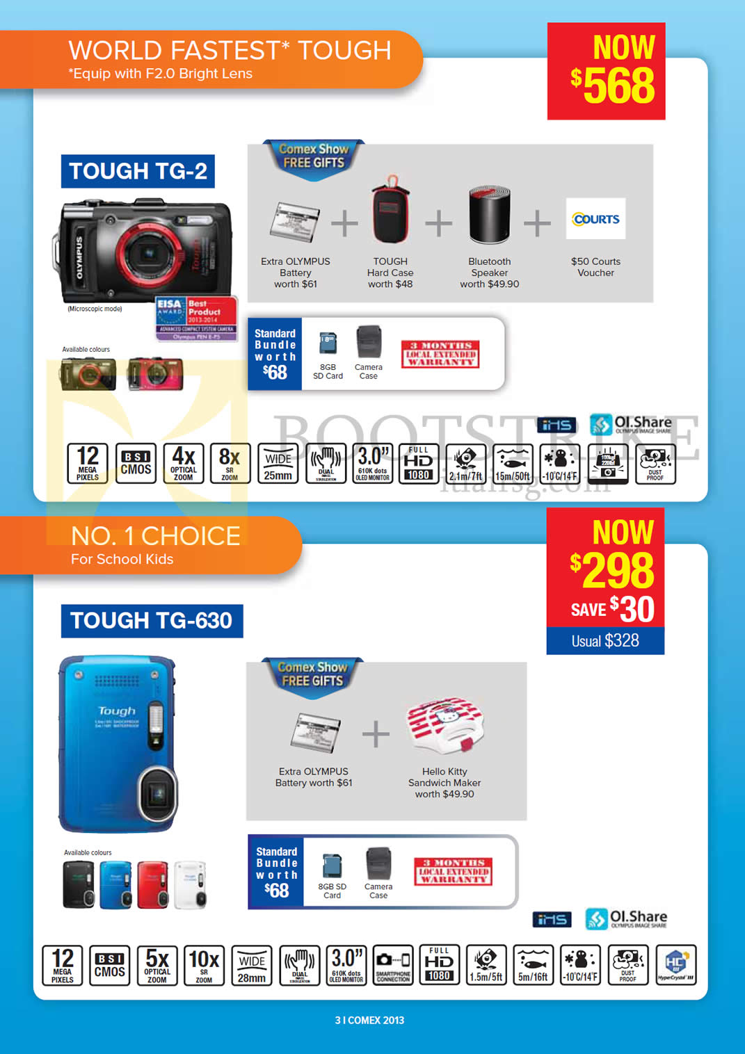 COMEX 2013 price list image brochure of Courts Olympus Digital Cameras Tough TG-2, TG-630