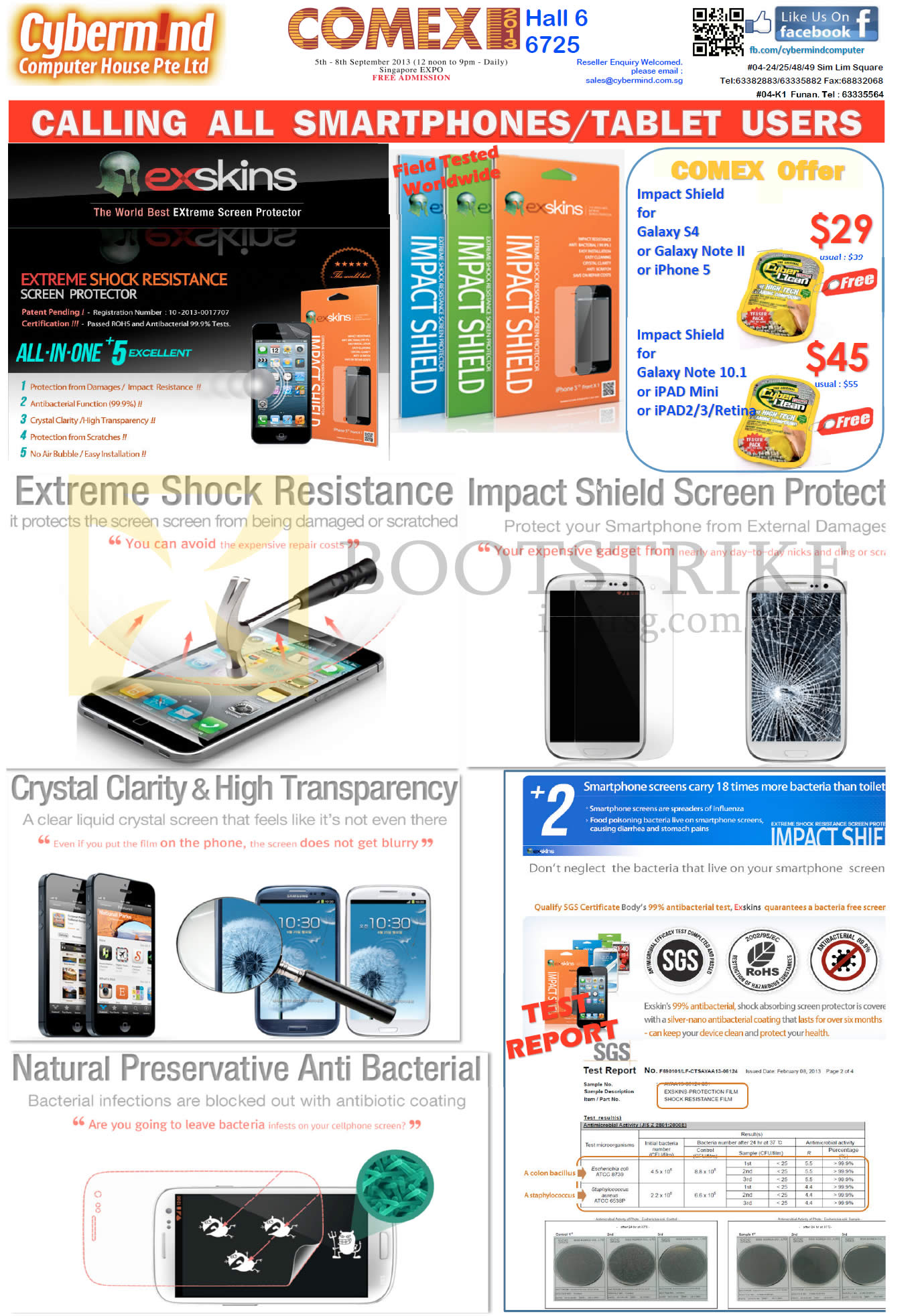 COMEX 2013 price list image brochure of Cybermind Exskin Screen Protector, CyberClean Impact Shield