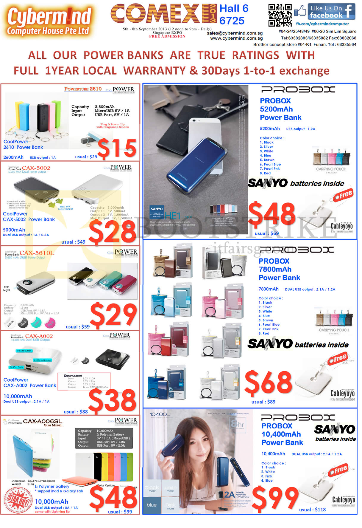 COMEX 2013 price list image brochure of Cybermind External Charger Power Banks, Powertube 2610, Probox, Coolpower, Sanyo, Cableyoyo