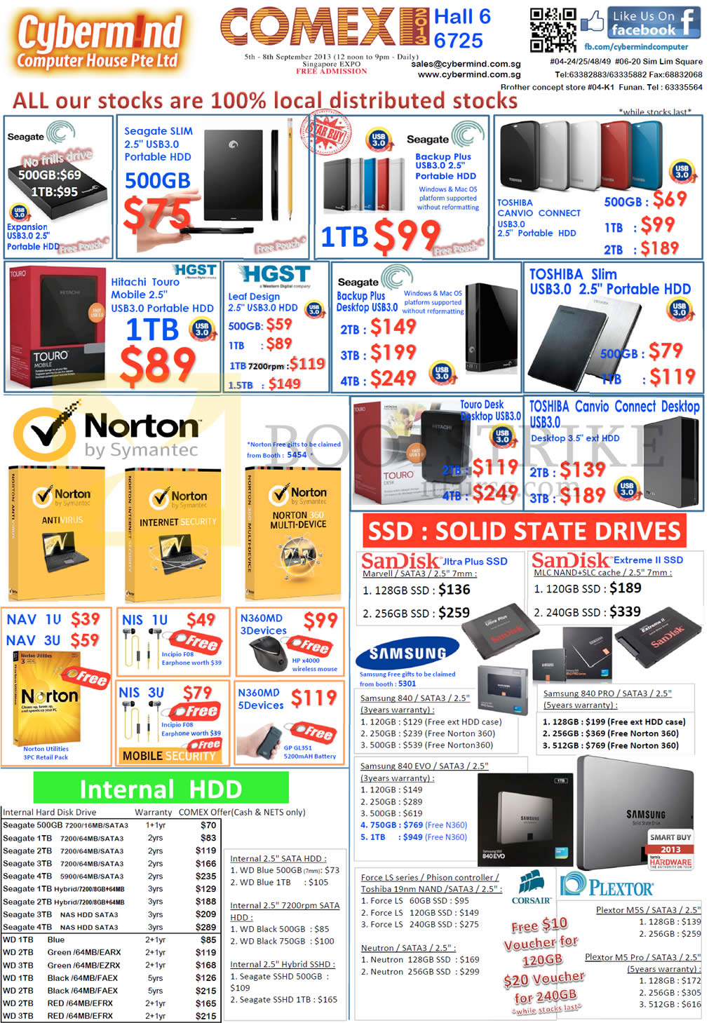 COMEX 2013 price list image brochure of Cybermind External Storage Seagate, HGST Hitachi Touro, Toshiba, SSD, Samsung, 500TB, 1TB, 2TB, 3TB, 4TB, Backup Plus, Canvio Connect, Plextor, Sandisk