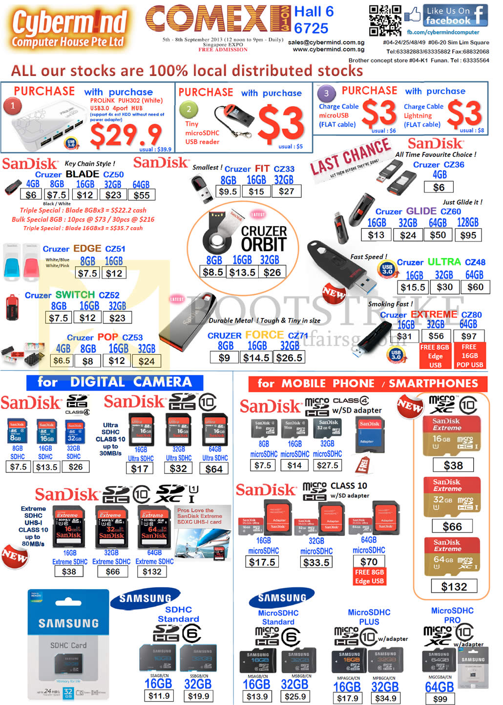 COMEX 2013 price list image brochure of Cybermind Flash Memory Sandisk Cruzer Blade 4GB 8GB 16GB 32GB 64GB, Fit Edge Switch Pop Glide Ultra Extreme Force Orbit, SDHC Samsung, MicroSD, MicroSDHC Pro