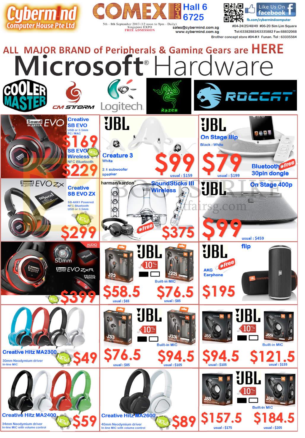 COMEX 2013 price list image brochure of Cybermind Headphones Creative Sound Blaster Evo Wireless, ZX, ZXR, JBL, Hitz, Creature 3 Speakers, On Stage, J22i, Flip, J33i, J55i, J88i