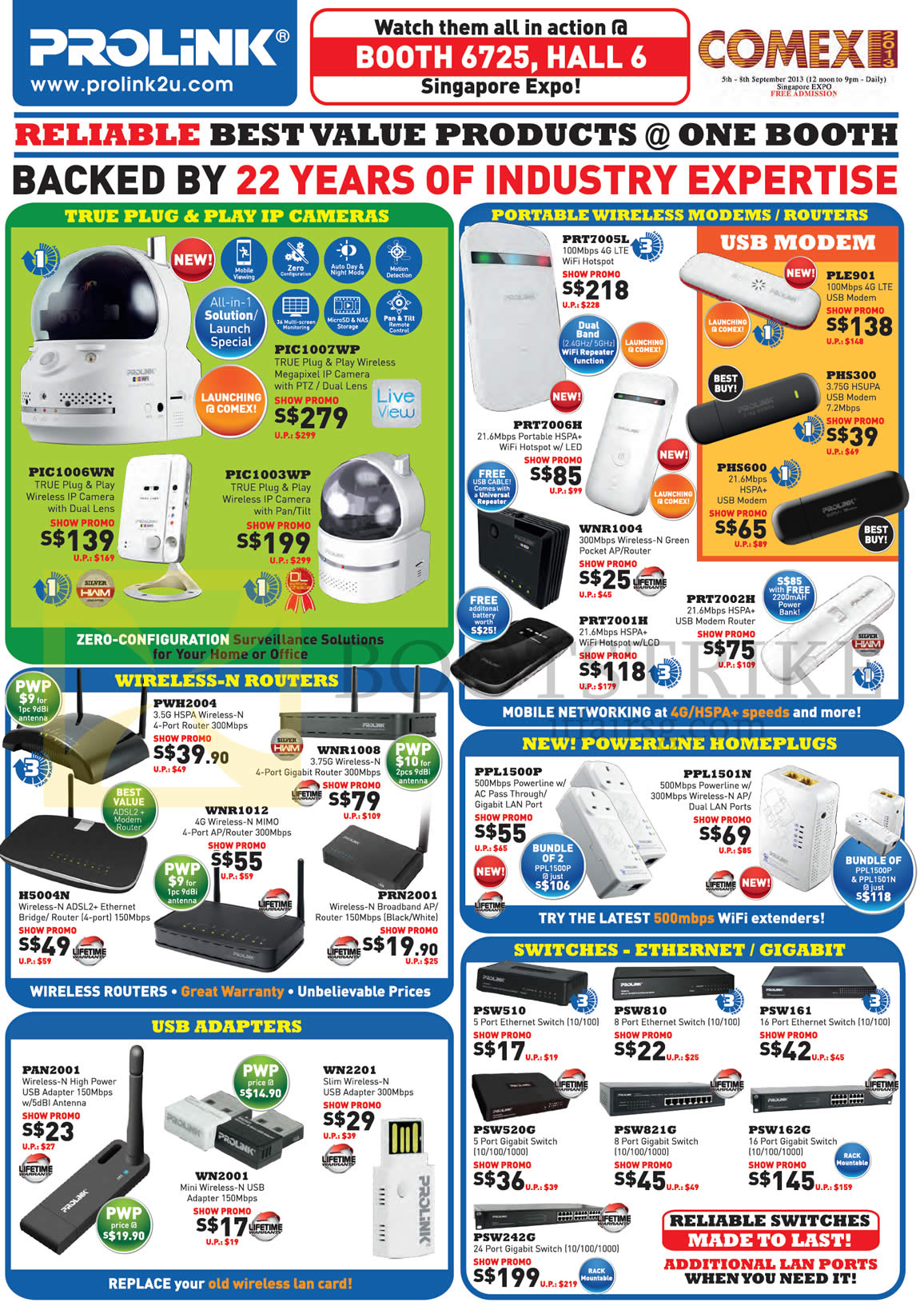 COMEX 2013 price list image brochure of Cybermind Prolink IPCam, Wireless Modem Router, USB Modem Router, Powerline Homeplug, Wireless Adapters, Switch