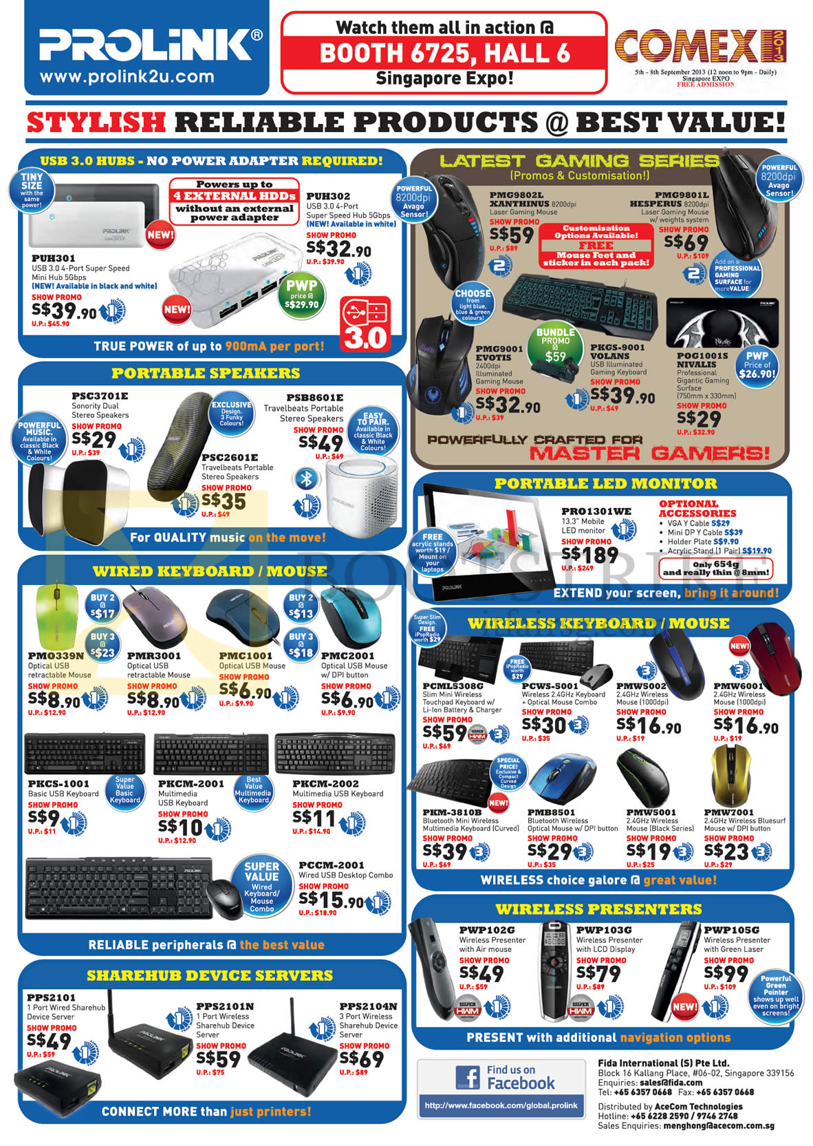 COMEX 2013 price list image brochure of Cybermind Prolink USB Hubs, Mouse, Keyboards, Speakers,LED Monitor, Wireless Pointers, Presenter, Sharehub Device Servers