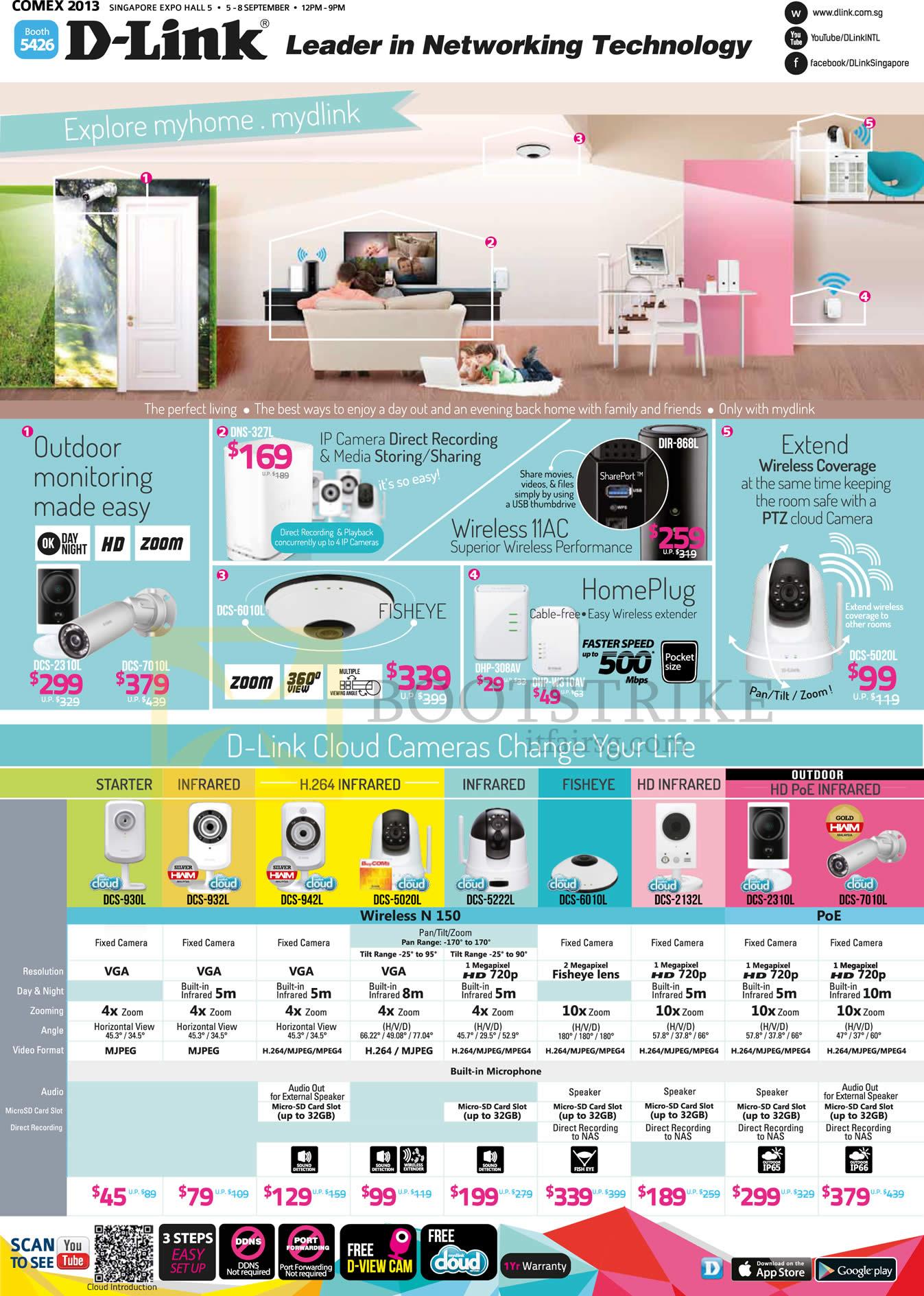 COMEX 2013 price list image brochure of D-Link Networking IPCam, HomePlug, Wireless Extender DCS 930L 932L 942L 5020L 5222L 6010L 2132L 2310L 7010L