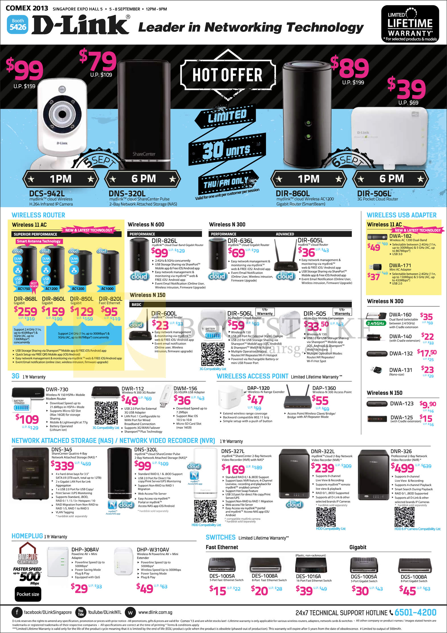 COMEX 2013 price list image brochure of D-Link Networking Routers, Wireless USB Adapters, NAS, HomePlug, Switches, Network Video Recorder, AC