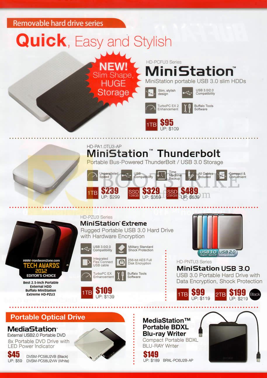 COMEX 2013 price list image brochure of ECS Buffalo External Storage MiniStation, Thunderbolt, Extreme 1TB, SSD, 2TB, MediaStation External Optical Drive, BDXL