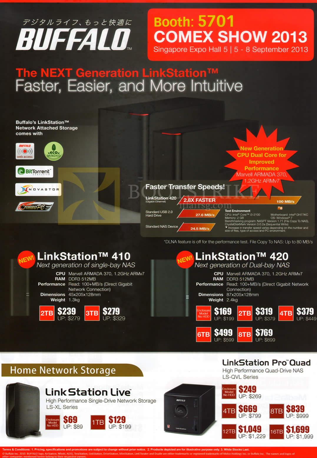 COMEX 2013 price list image brochure of ECS Buffalo NAS LinkStation 410, 420, Live, Pro Quad
