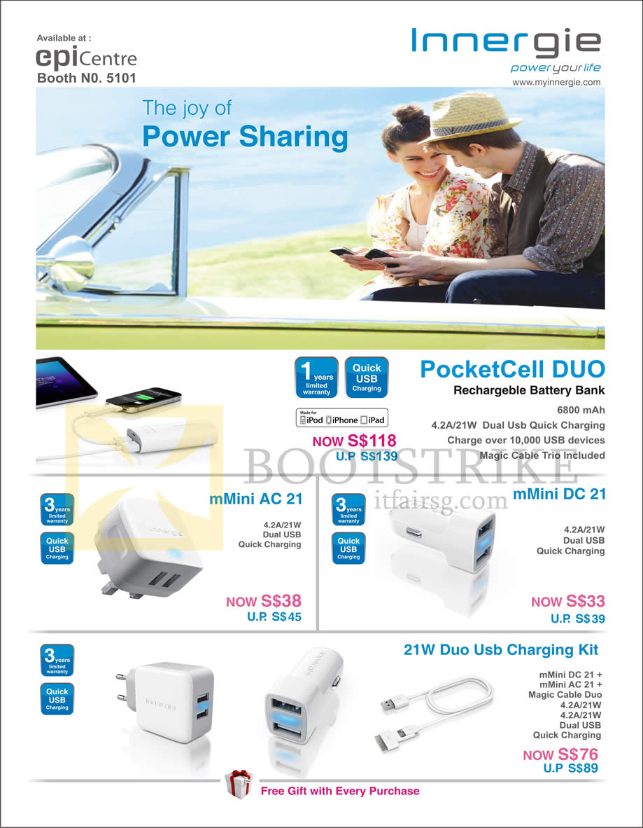 COMEX 2013 price list image brochure of Epicentre Innergie External Chargers PocketCell Duo, MMini AC21, DC21, 21W Duo USB Charging Kit