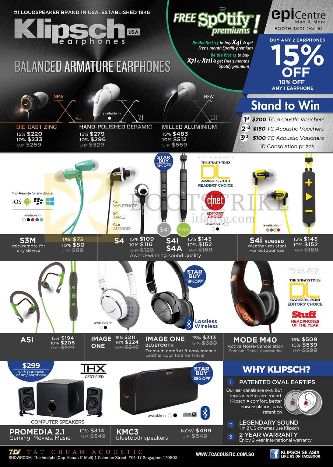 COMEX 2013 price list image brochure of Epicentre Klipsch Earphones X4i, X7i, 11i, S3M, S4, S4i, S4a, A5i, Image One, Mode M40 Headphones, Promedia 2.1 Speakers, KMC3