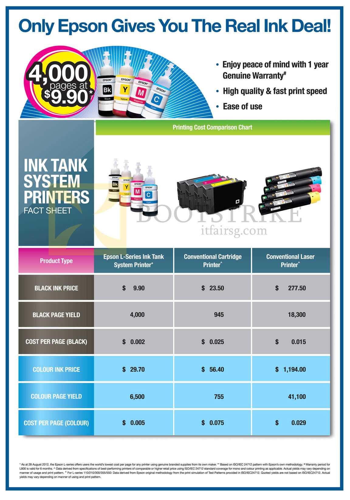 COMEX 2013 price list image brochure of Epson Printers Ink Tank System Comparison Table